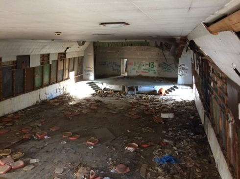 The remains of the movie theatre viewed from my projection booth.  (Click to enlarge)